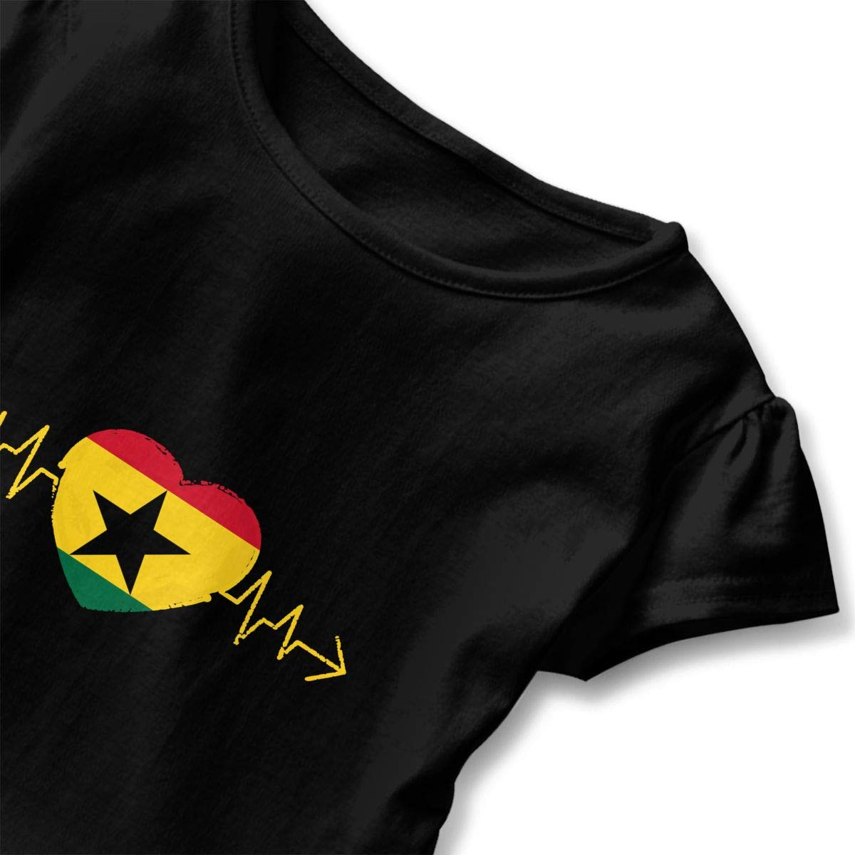 Ghana Country Flag Heartbeat Pride Toddler Baby Girls Short Sleeve Ruffle T-Shirt