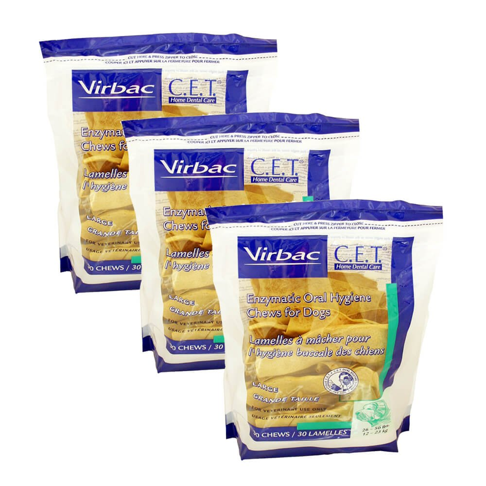 Virbac Dental Chews CET605-3 30 Count Oral Chews (3 Pack), Large