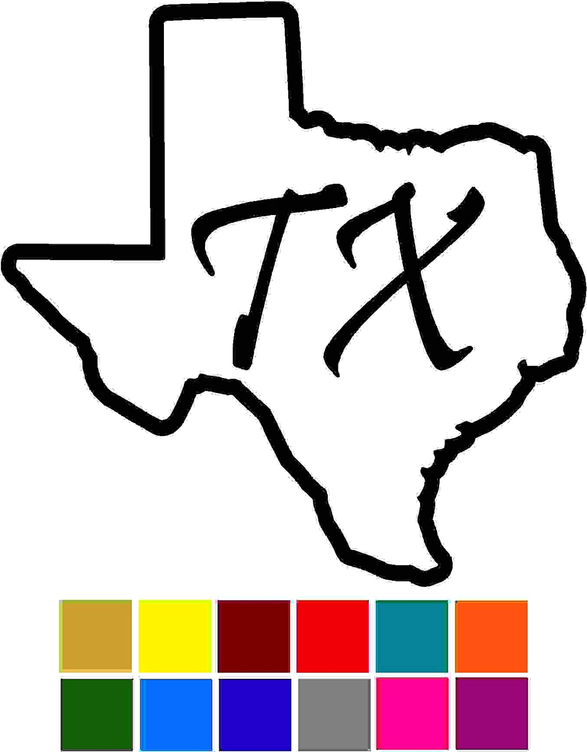 States Texas Decal Sticker Vinyl Car Window Tumblers Wall Laptops Cellphones Phones Tablets Ipads Helmets Motorcycles Computer Towers V and T Gifts