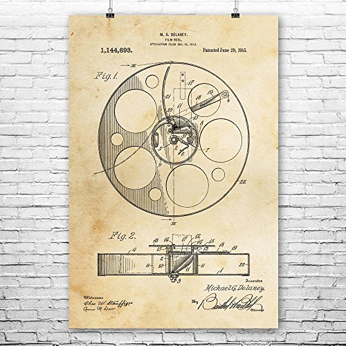 (Movie Film Reel Poster Print, Director Gift, Actor, Hollywood, Vintage Cinema, Home Theater, Classic Movies, Filmmaker Vintage Paper (24