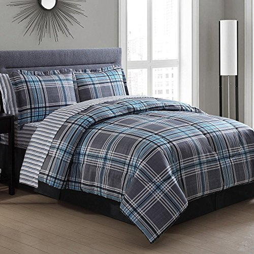 Ellison Great Value Chelsea Plaid 8 Piece Queen Bed in a Bag, Gray