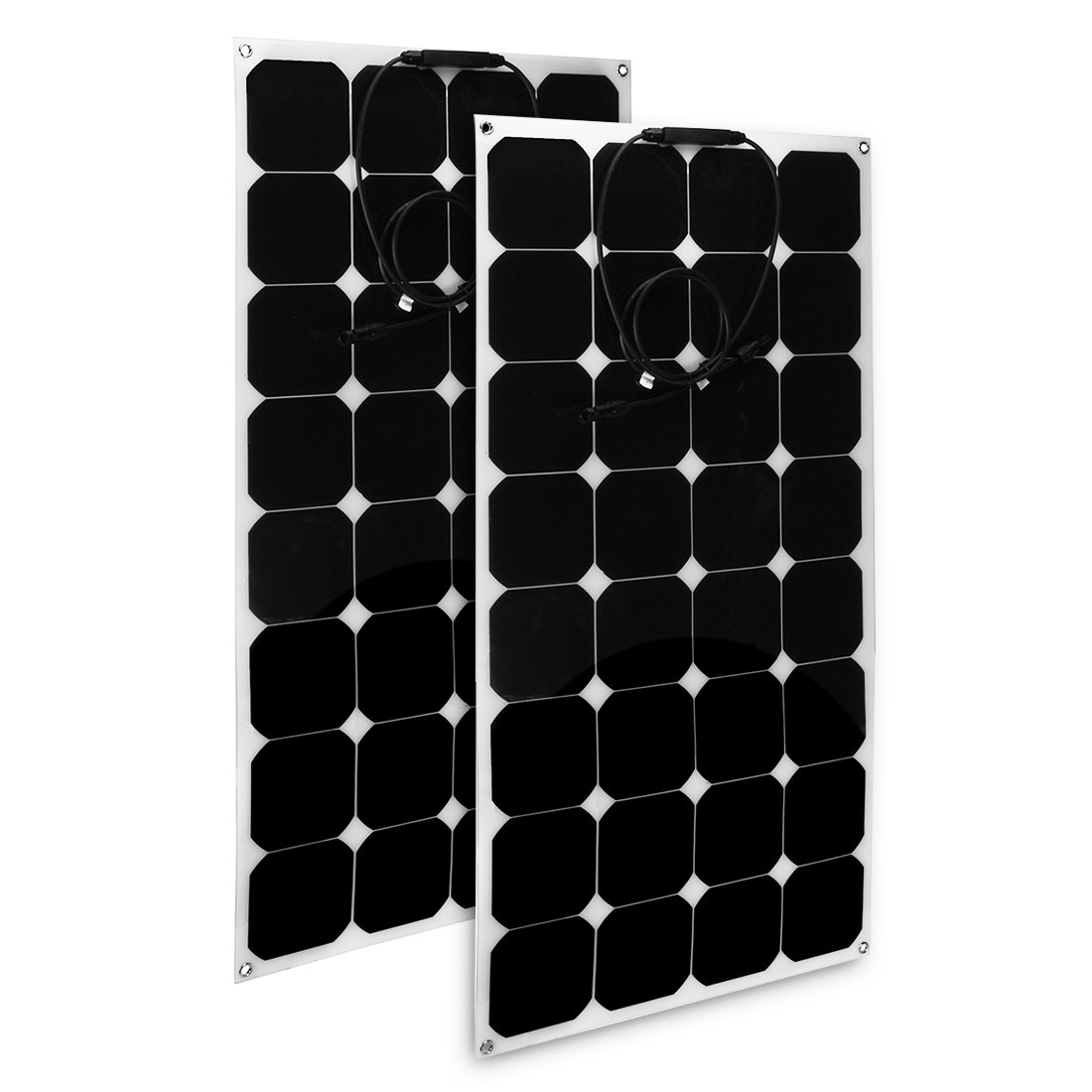 uxcell 2pcs 100W 18V 12V Solar Panel Charger Solar Cell Ultra Thin Flexible with MC4 Connector Charging for RV Boat Cabin Tent Car