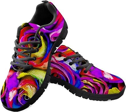 AXGM - Zapatillas de Correr para Hombre, Zapatillas para Correr, Zapatillas para Correr, Multicolor, diseño de Flores, Transpirables: Amazon.es: Zapatos y complementos
