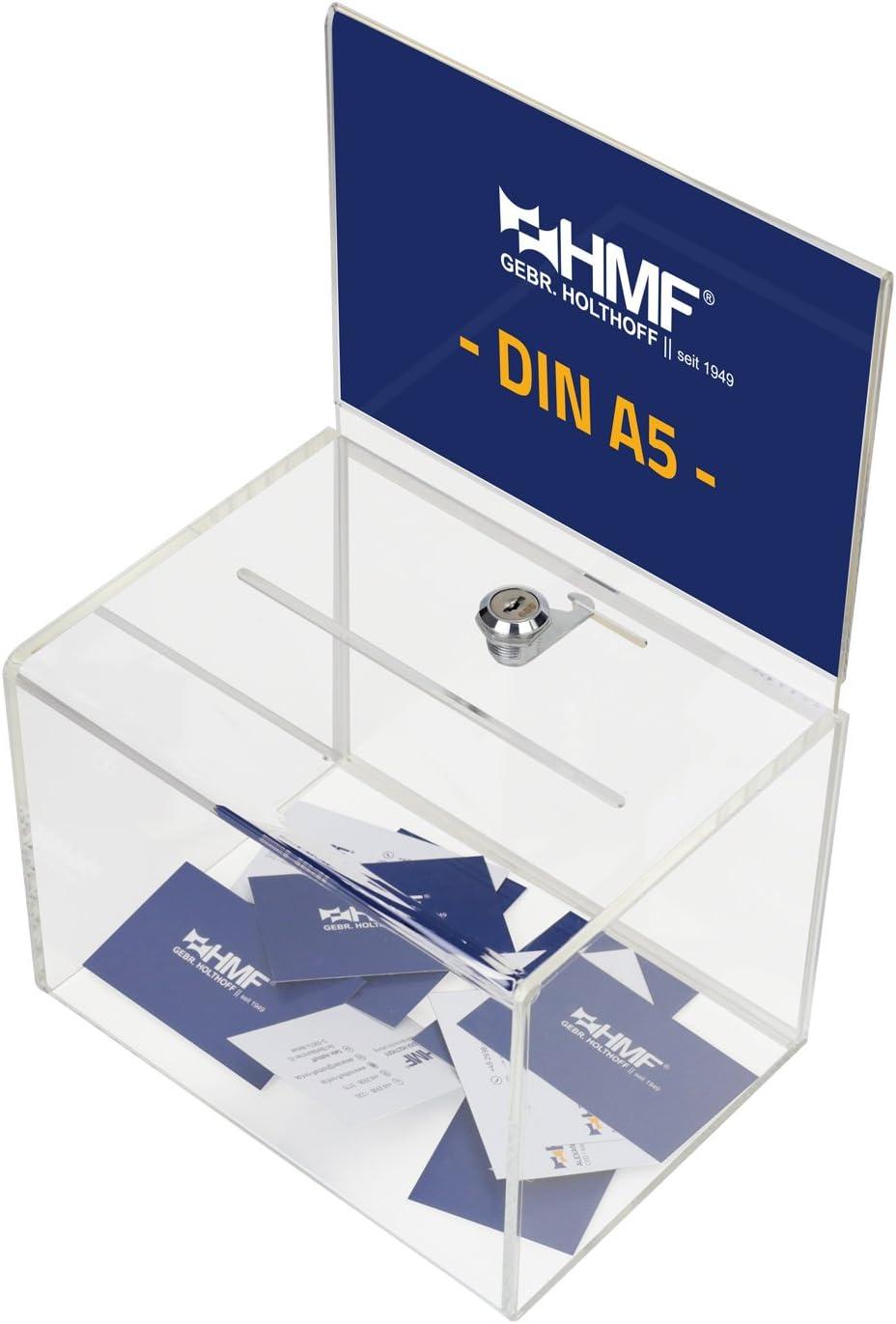 HMF 46913 Caja de donación de acrílico con inserto de hojas   21,5 x 16 x 16 cm   DIN A5   Transparente: Amazon.es: Oficina y papelería