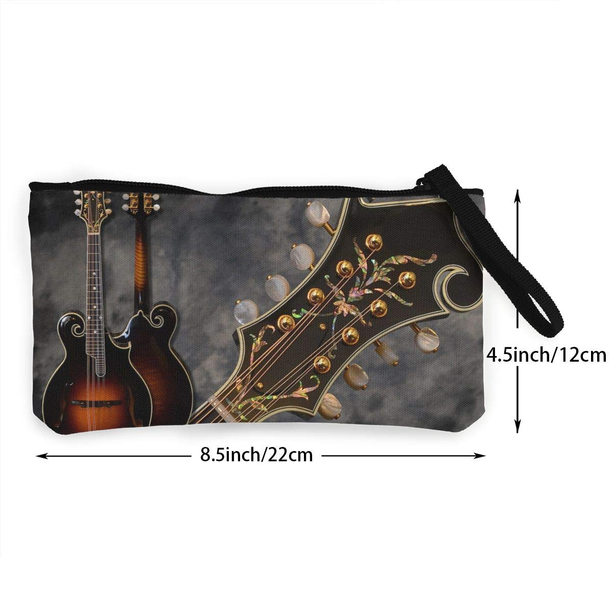 YUANSHAN Musical Notes Unisex Canvas Coin Purse Change Cash Bag Zipper Small Purse Wallets with Handle
