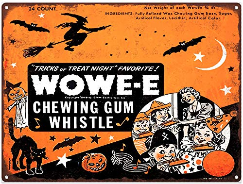 Yilooom Wowe-E Wowee Gum Halloween Candy Advertising Baked Metal Repro Sign 12