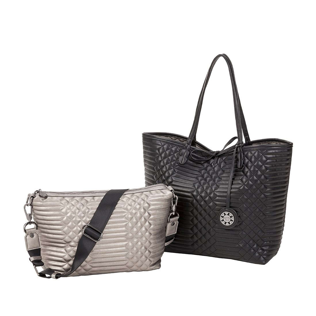 Sydney Love Qulilted Reversible Tote & Crossbody Set, Black/Pewter