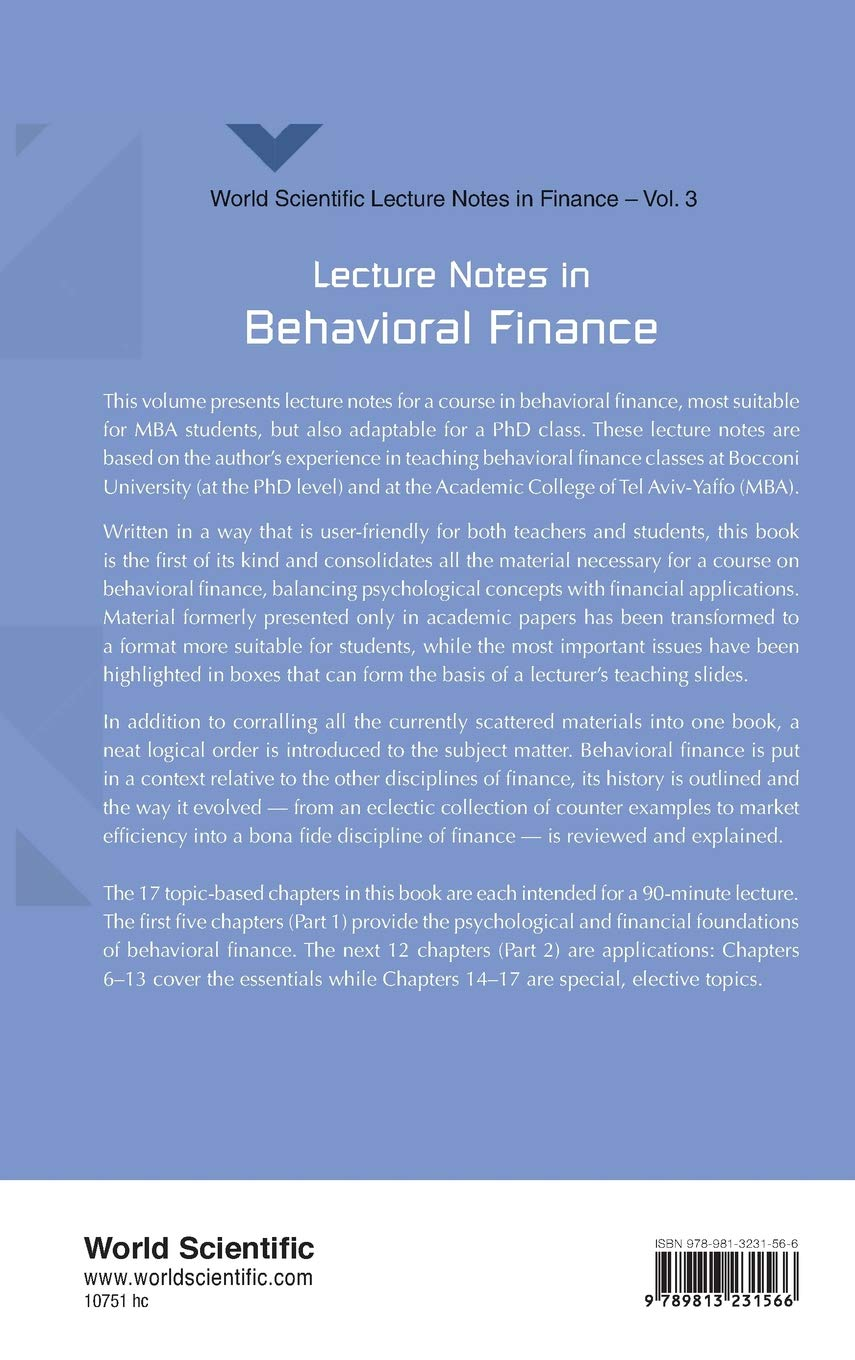 Buy Lecture Notes In Behavioral Finance: 3 (World Scientific