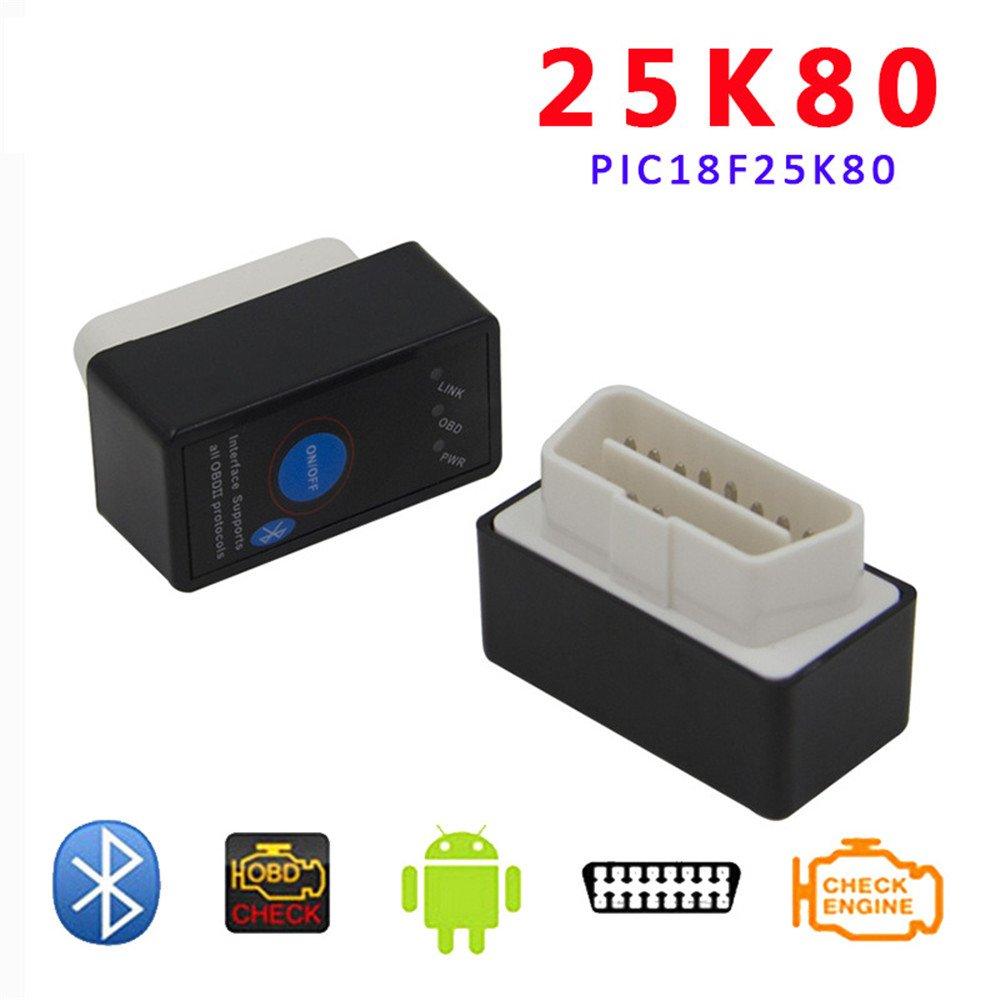 DLSEAUTO V1.5 Super MINI ELM327 Esc/áner de diagn/óstico Bluetooth ELM 327 con chip de encendido//apagado 25K80 OBD2 OBDII para Android Torque//PC Coche C/ódigo