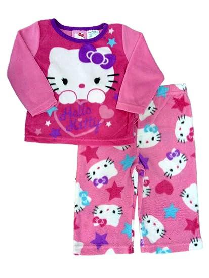 63748a31b Hello Kitty Infant Toddler Girl Pink Sleepwear Set Star Print Fleece Pajamas  12m
