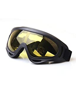 Adjustable UV Protective Motorcycle Goggles Anti-fog Protective Ski Goggles --- Ehonestbuy Military Sunglasses Outdoor Tactical Goggles to Prevent Particulates in Grey Lens (Yellow)