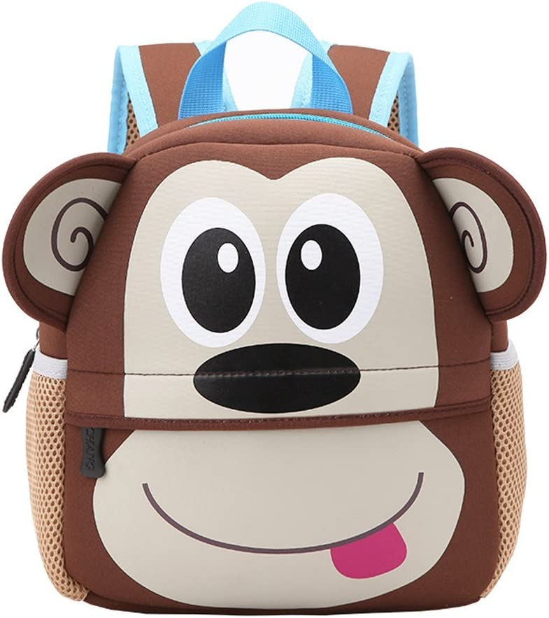 Mochila Infantil para Niños Primaria Pequeña Guardería Mochila Preescolar para Niños de 2-5 Años Dibujo de Animal Lindo (Mono, 21 * 8 * 26CM)