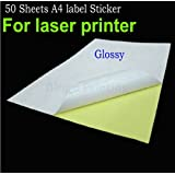 Total Home 50 Sheets A4 Adhesive Sticker Paper Glossy Surface Blank Label 210 X 297mm For Laser Printer