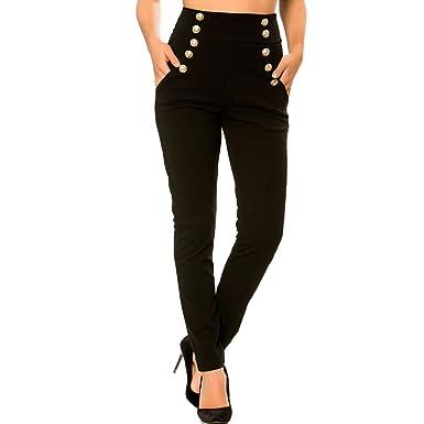 50af9f30d641f Miss Wear Line - Pantalon Slim Noir Taille Haute Style Officier à Boutons  dorés avec Poches