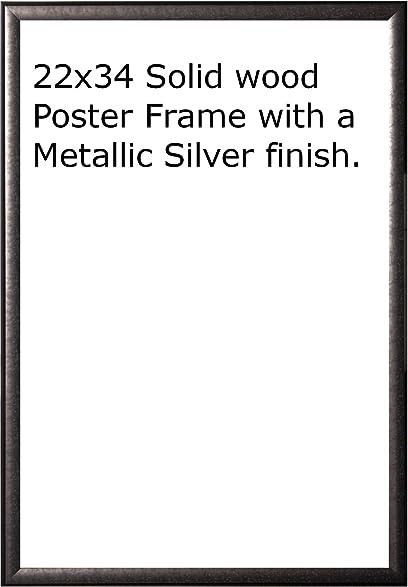 Amazon.com - Wood Metallic Silver Finish Poster Frame 22x34 or 34 x 22 -