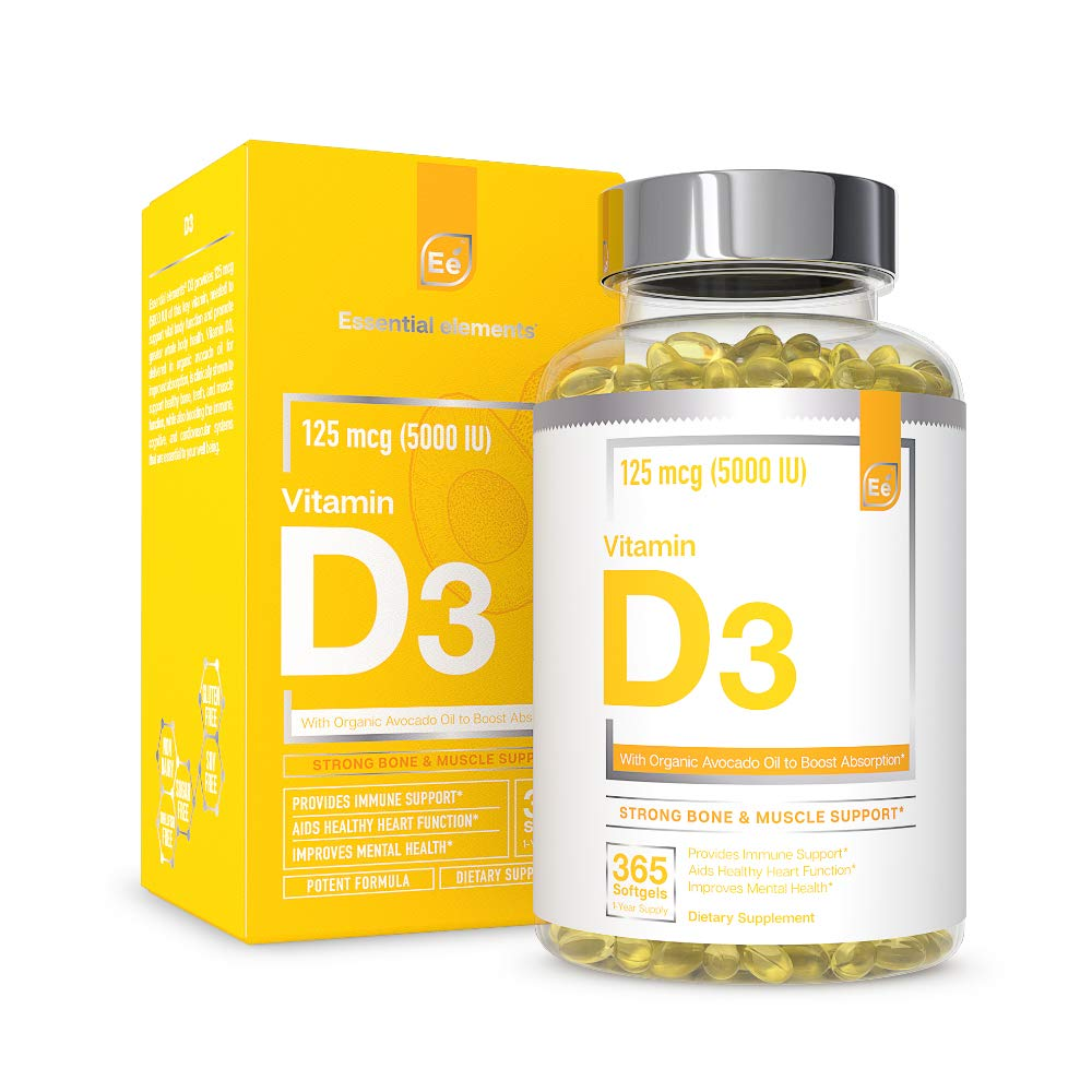 Vitamin D3 5000 IU Softgels with Organic Avocado Oil to Boost Absorption - Essential Elements   Strong Bone & Muscle, Immune Support 365 Capsules