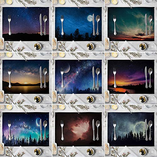 memorytime Night Starry Sky Linen Placemat Kitchen Dining Table Mat Bowl Pad Coaster Decor Kitchen Dining Supplies - 9# by memorytime (Image #2)