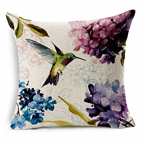 E-sunshine® Cotton Blend Linen Square Throw Pillow Cover Decorative Cushion Case Pillow Case 18 X 18 Inches / 45 X 45 Cm, Hummingbird and Flower (002) ()