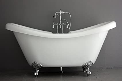 clawfoot tub fixtures. 73\u0026quot; Hotel Collection Double Slipper CoreAcryl Clawfoot Tub \u0026 Faucet Pack, Chrome Fixtures And R