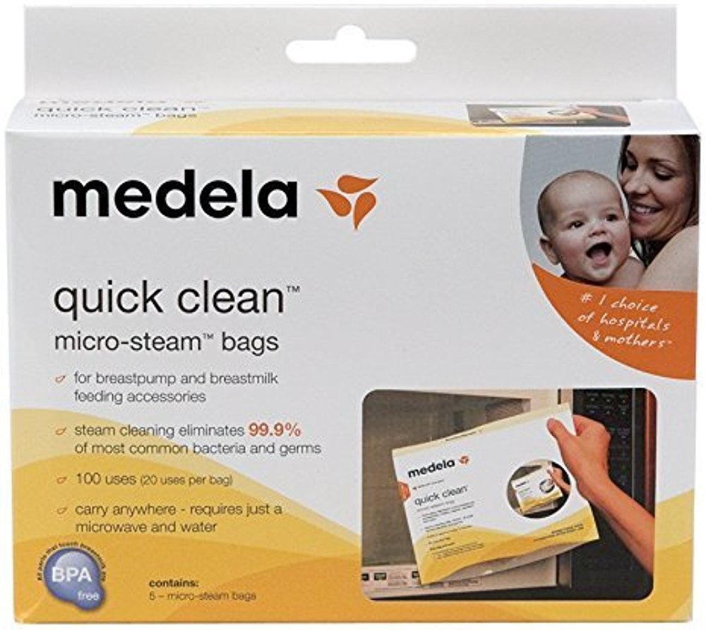 Medela Quick Clean Micro-Steam Bags Economy Pack of 4 retail boxes (20 Bags Total) by Medela