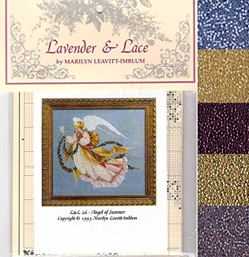 Lace Stitch Cross - Lavender & Lace Cross Stitch Chart with Mill Hill Bead Set ~ ANGEL OF SUMMER #26