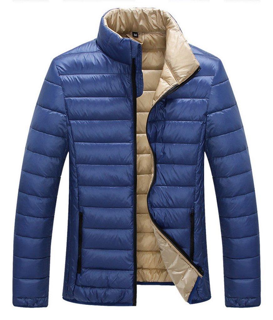 ZSHOW Men's Lightweight Stand Collar Packable Down Jacket(Blue,Large)