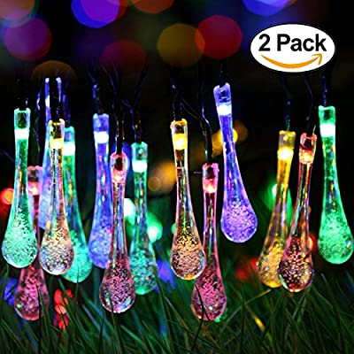 2 Pack Solar Strings Lights, Perfectwo 20ft 30 LED Water Drop Solar Fairy Lights, Waterproof Christmas Lights for Garden, Patio, Yard, Home, Parties- Multi Color