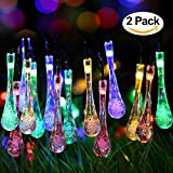 2 Pack Solar Strings Lights - Perfectwo 20ft 30 LED Water Drop Solar Fairy Lights - Waterproof Christmas Lights for Garden - Patio - Yard - Home - Parties- Multi Color
