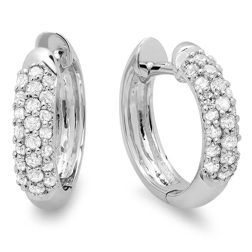 0.30 Carat (ctw) 10K White Gold Round White Diamond Ladies Pave Set Huggies Hoop Earrings 1/3 CT