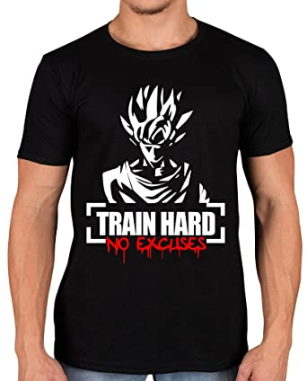 e1bd478b0 Workshop37 Men's Goku Train Hard No Excuses Gym Slogan T-Shirt: Amazon.co.uk:  Clothing