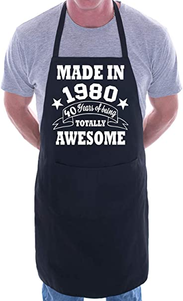 Made In 1980 40th Birthday BBQ Cooking Funny Novelty Apron