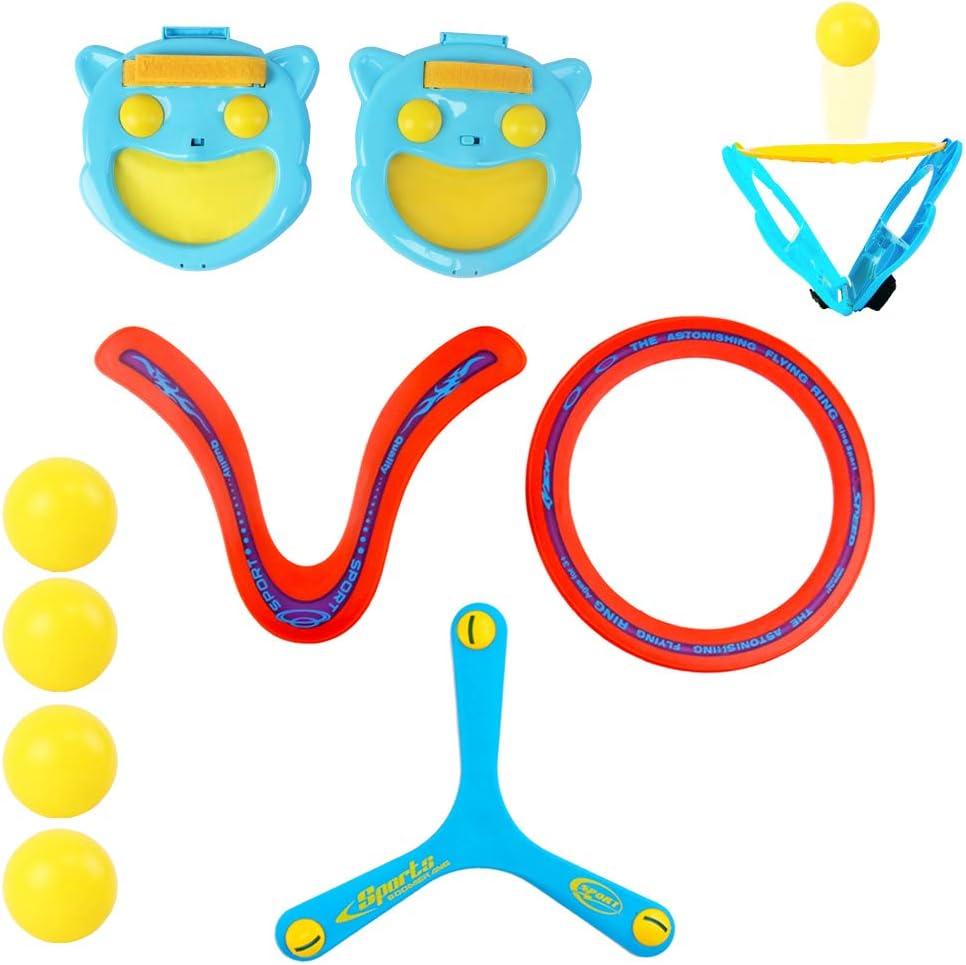 deAO Juego de Lanza y Atrapa Conjunto Incluye 2 Guantes de Paleta, 4 Pelotas y 3 Boomerangs - Actividades Deportivas de Verano Infantiles y en Familia