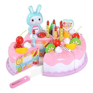 Henreal 37 Unids / Set Niños Niños Juguete Juego de rol Simulación Pastel de Cumpleaños Cortar Lindo