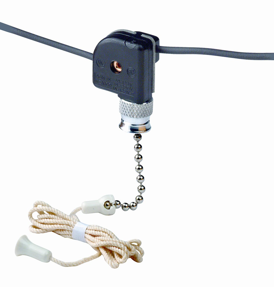 Leviton 10097-8 Pull Chain Switch, Single Pole On-Off; 1A-125V T, 3A-125V, 1A-250V; With Two 6 Inch Black Leads 18 Awg Awm Tew 105C 600V, Stripped 1/2 Inch