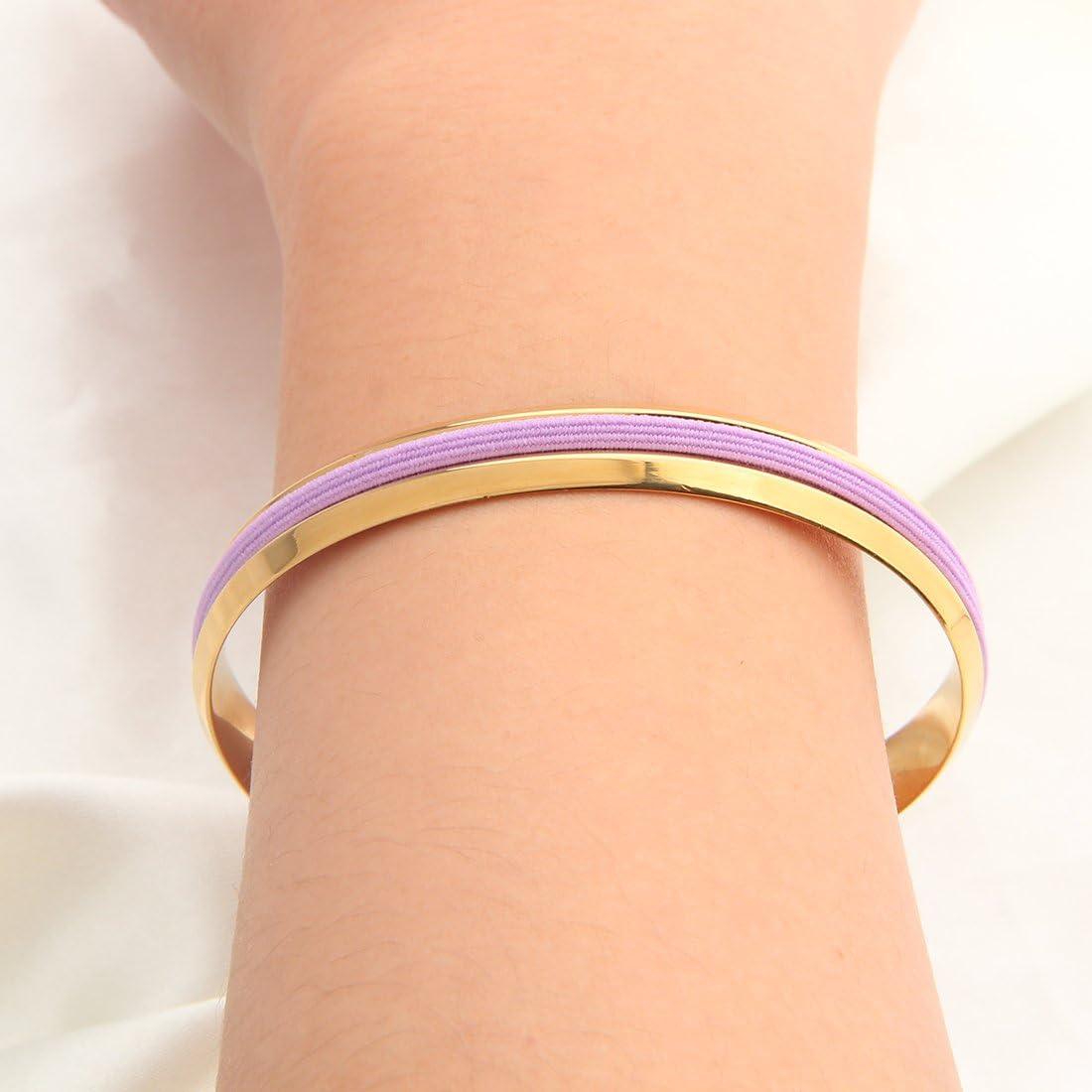 WUSUANED Stainless Steel V Grooved Cuff Bracelet Bangle for Women Girls