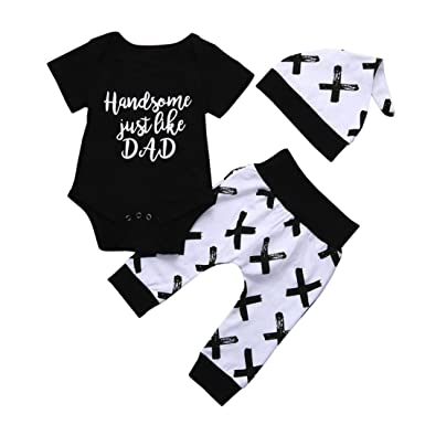 bb21b3b407a57 Boys Clothing Sets,3PCS Newborn Baby Boy Cute Set Letter Print Romper  Tops+Long Pants Hat Outfits Clothes for 0-24 Months Baby Clothes Outfits  Set White: ...