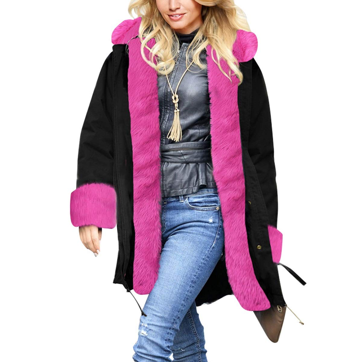 Black1 Womens Winter Warm Thicken Long Sleeve Faux Fur Collar Hooded Parka Jacket Coat