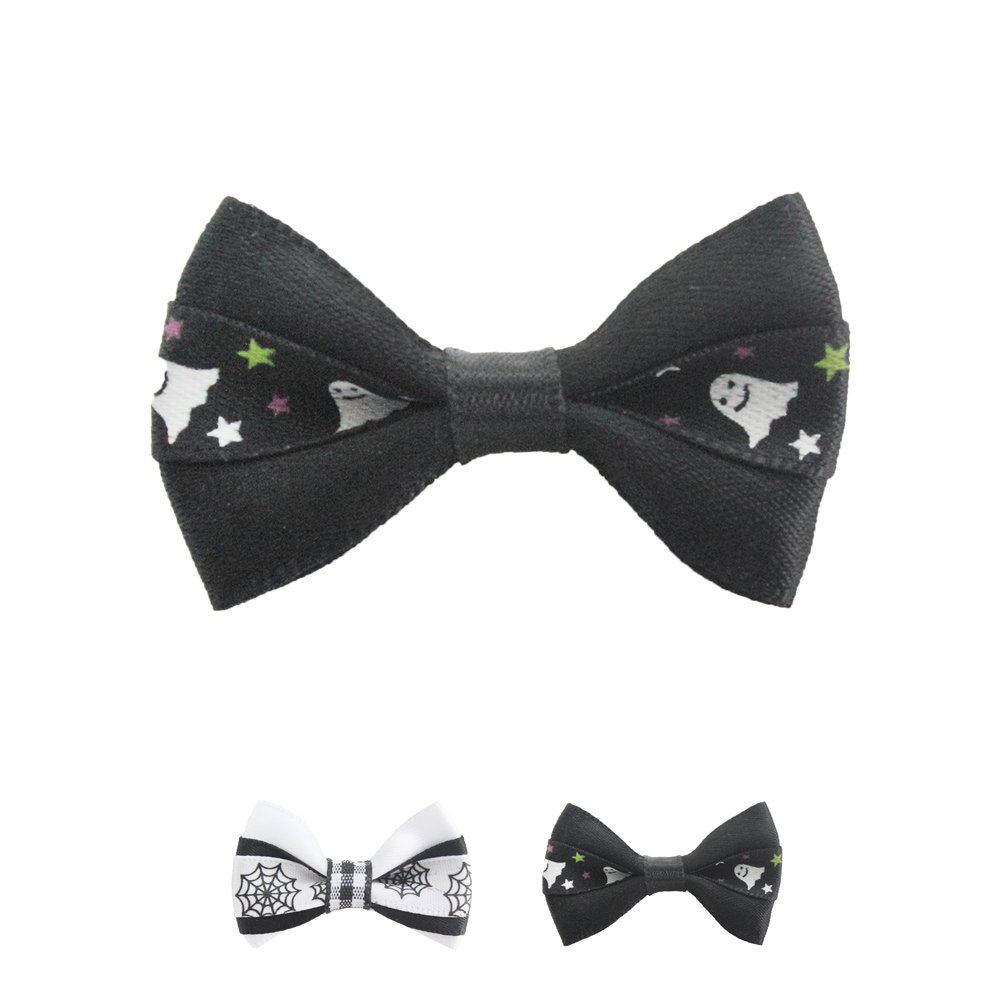 100PCs Halloween Dog Bow Tie Handmade Black White Celebrate Halloween Dress up Puppy Pet