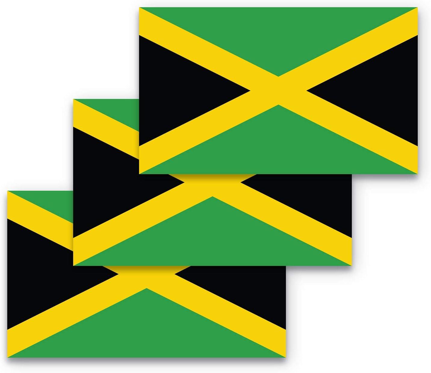 3x5 Jamaica Flag Bumper Sticker 3-Pack Made with Durable, Waterproof Materials, Jamaican Flag Bumper Sticker, Jamaica Bumper Sticker, Jamaica Sticker, Jamaica Flag Sticker