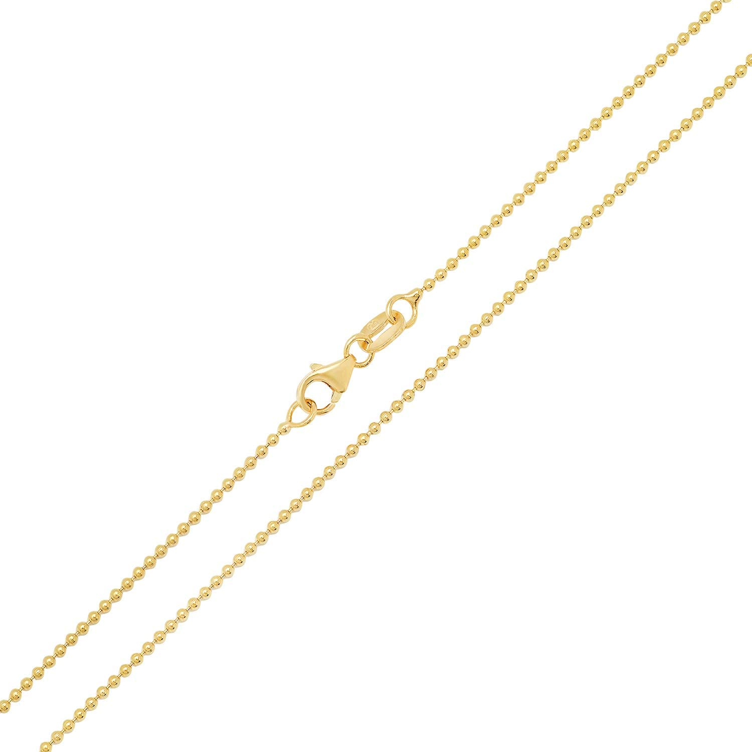 14K Yellow Gold 1.5mm Ball Link Chain Necklace with Lobster Ring Clasp 18 inches