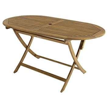 Bentley Garden - Table de Jardin Ovale Pliable - Bois: Amazon.fr: Jardin