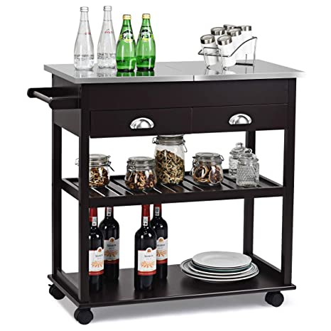 Giantex Kitchen Trolley Cart Rolling Island Cart w/Stainless Steel Flip Top Cutting Table 2 Drawers 2 Shelves Multipurpose Storage Cart Microwave Cart ...