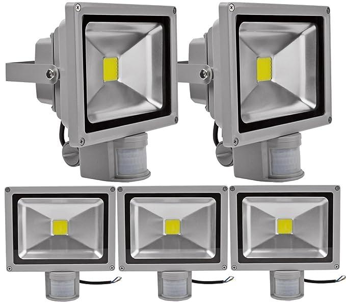 ALPHA DIMA 5pcs 20W Foco LED con Sensor Movimiento Foco Exterior LED Con Sensor Proyector 1800Lumen LED Exterior IP65 Resistente al Agua(Blanco Frío)
