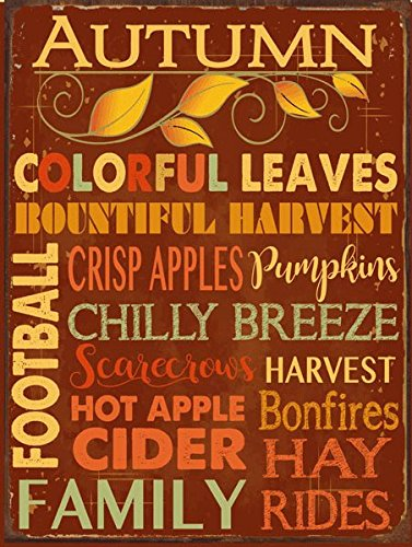Autumn Words Subway Metal Sign, Autumn, Kitchen Décor, Thanksgiving, Fall,