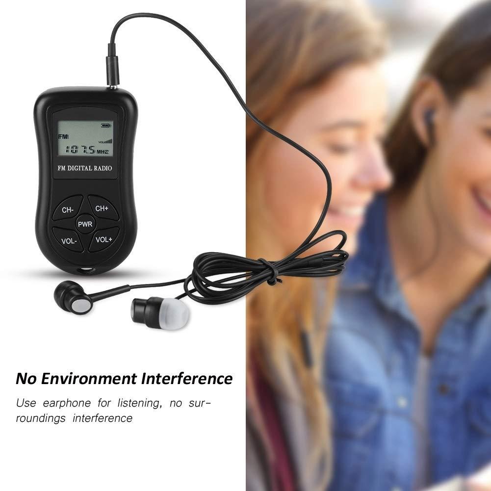 MAGT Radio Digital port/átil Radio de Bolsillo Radio Personal Mini Radio est/éreo Digital con Pantalla LCD Cord/ón y Auriculares