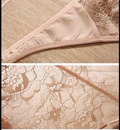 Ladies Lace Sexy Lover Underwear (Paquete de 2) ( Color : Negro ) Beige