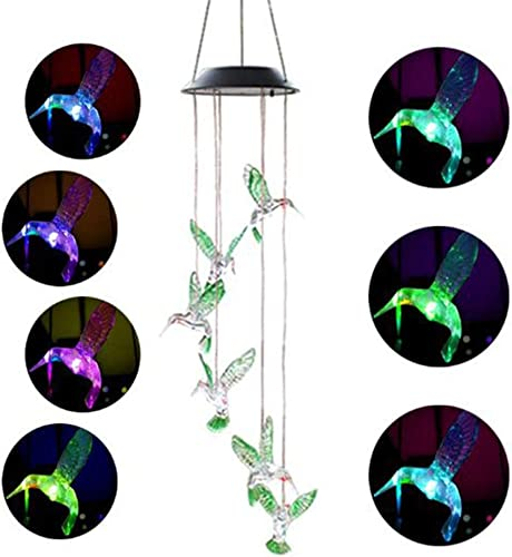 Cara Solar Hummingbird Wind Chime Color Changing Solar LED String Lights Outdoor Mobile Hanging Lawn Garden Patio Light