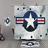 Uhoo Bathroom Suits & Shower Curtains Floor Mats And Bath TowelsAirplane Decor Army Logo Usaf Star Round On Grunge Metal With Bullet Holes Aircraft Art Print Navy Blue GreyFor Bathroom