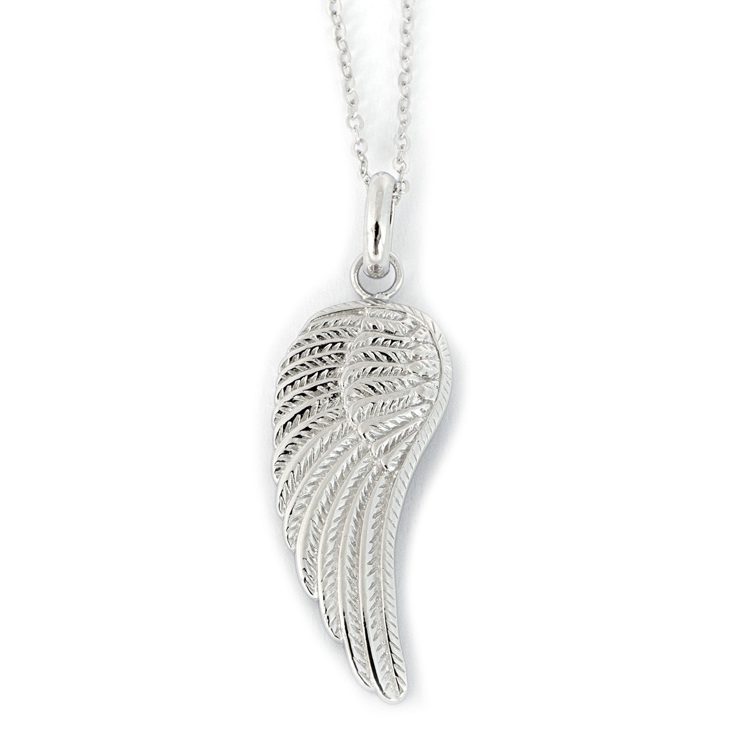 Solid Sterling Silver Rhodium Plated One Large Wing Pendant Necklace