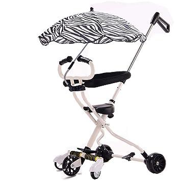 Minmin-chezi Carro para niños Luz Plegable Triciclo para niños Carro de bebé de Cinco Ruedas Artefacto para bebé (Color : Blanco): Amazon.es: Hogar